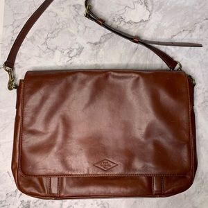 Fossil Brown Leather Messenger Bag